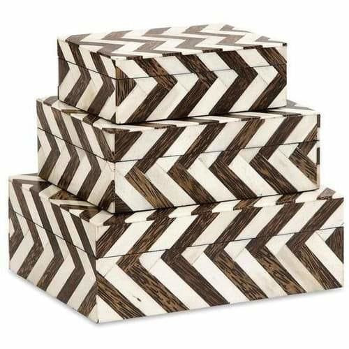 Boxes - Zigzag Bone Inlay Boxes - Set Of 3