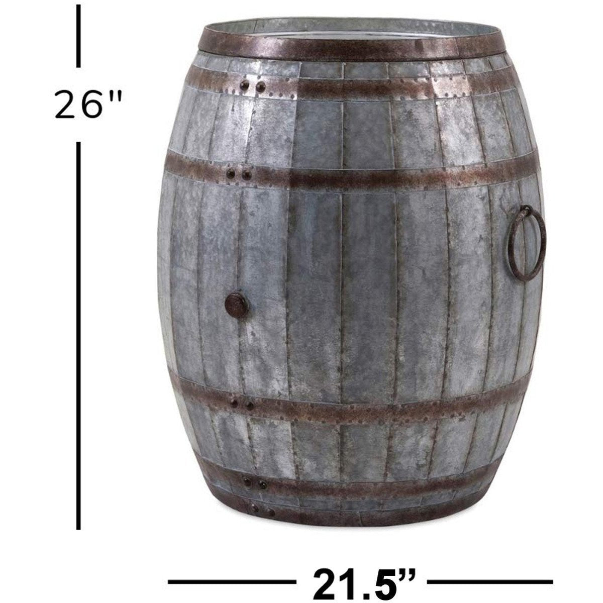 Buckets & Coolers - Drum Shape Metal Wine Storage Table With Removable Lid, Rustic Brown And Gray