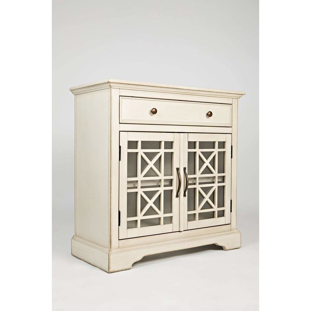 Cabinet And Storage Chests - Craftman Series 32 Inch Wooden Accent Cabinet With Fretwork Glass Front, Cream