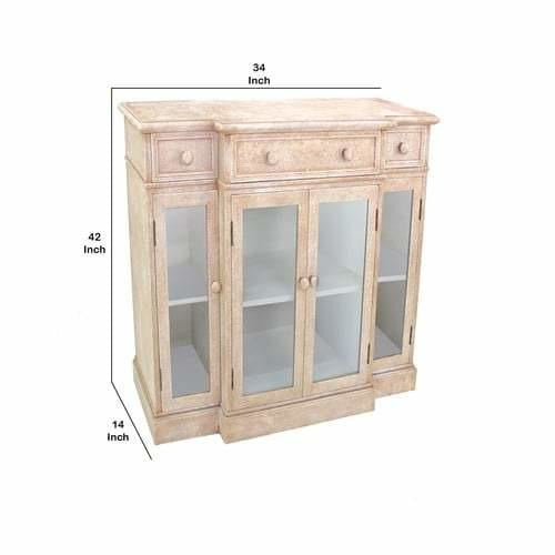 Cabinet & Storage Chests - 4 Door Wood And Glass Storage Cabinet With 3 Drawers, Beige And Clear