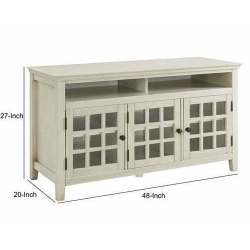 Cabinet & Storage Chests - Three Door Wooden Media Cabinet With Two Open Shelves, White