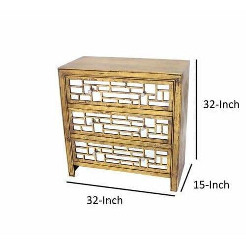 Cabinet & Storage Chests - Wood And Mirror Trim Storage Cabinet With 3 Drawers, Gold And Silver