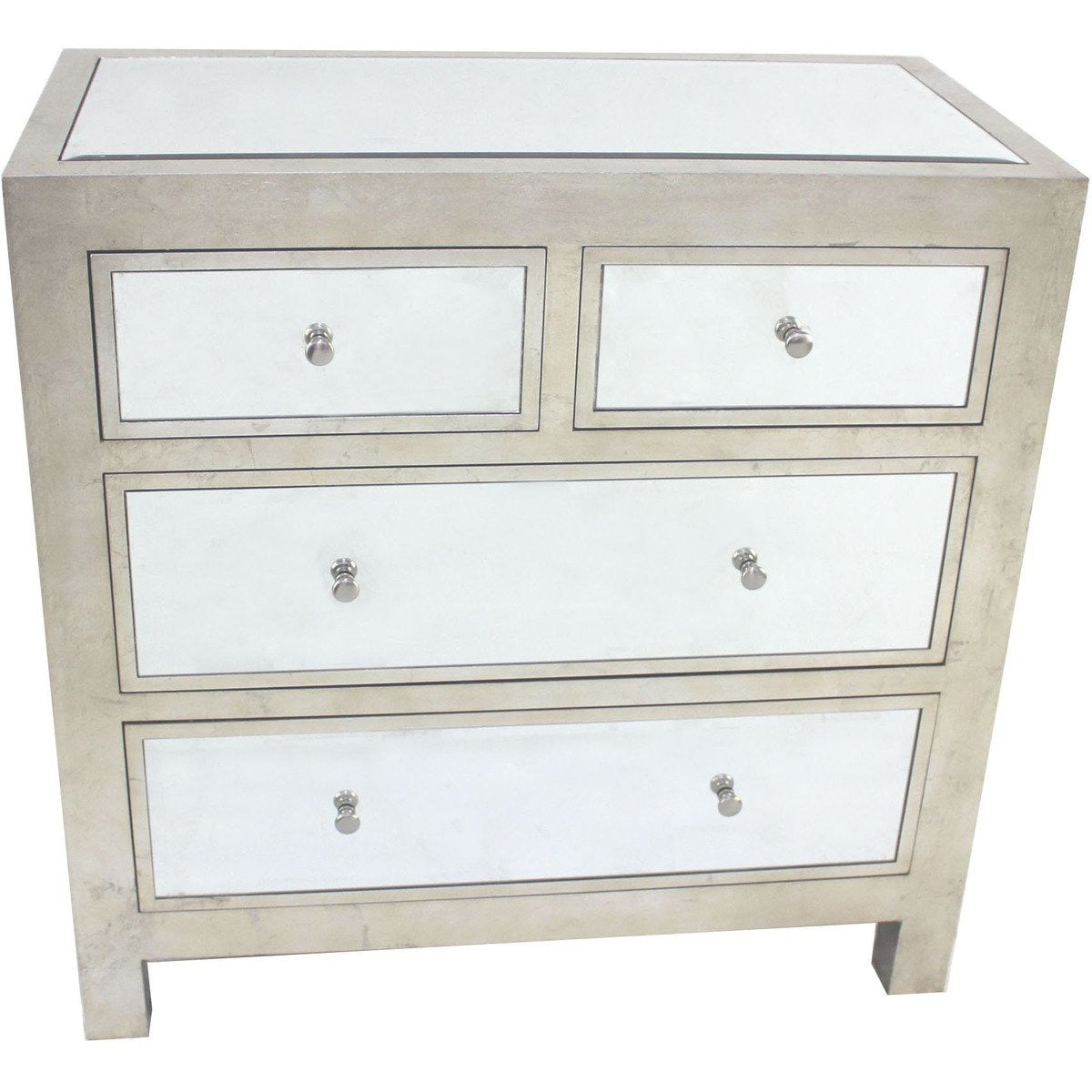 Cabinet & Storage Chests - Wooden Cabinet With Mirror Accented Top With Four Drawers, Silver