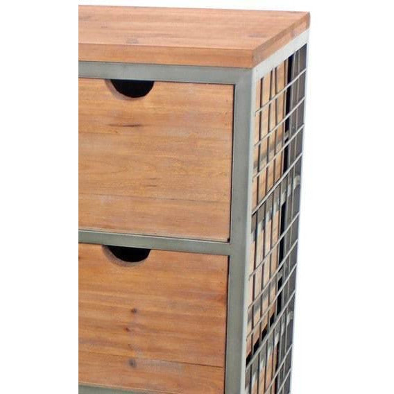 Cabinet & Storage Chests - Wooden Storage Cabinet With 6 Drawers And Grid Details,
