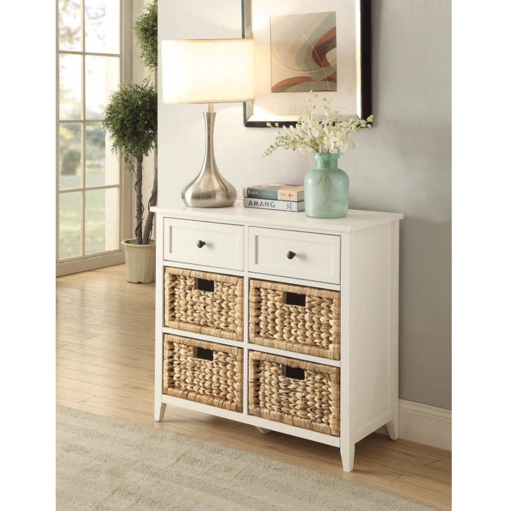 Cabinets & Dressers, Consoles - Flavius Console Table With 6 Drawers, White