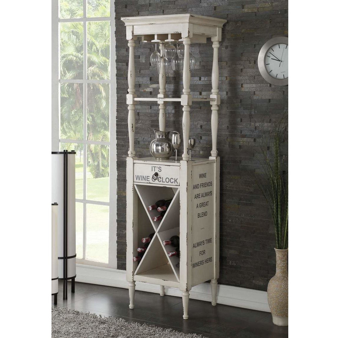 Cabinets - Wooden Wine Cabinet With Spacious Wine Bottle Holder, Antique White