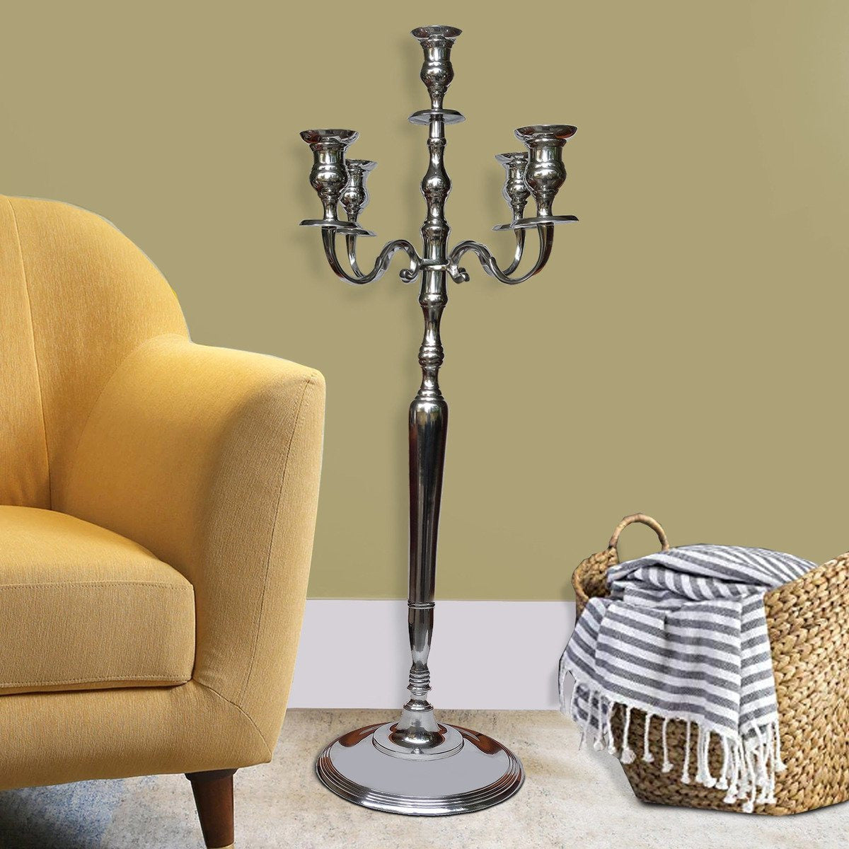 Candle & Votive Holder - 48 Inches Handcrafted 5 Arms Aluminum Candelabra With Fluted Top, Silver