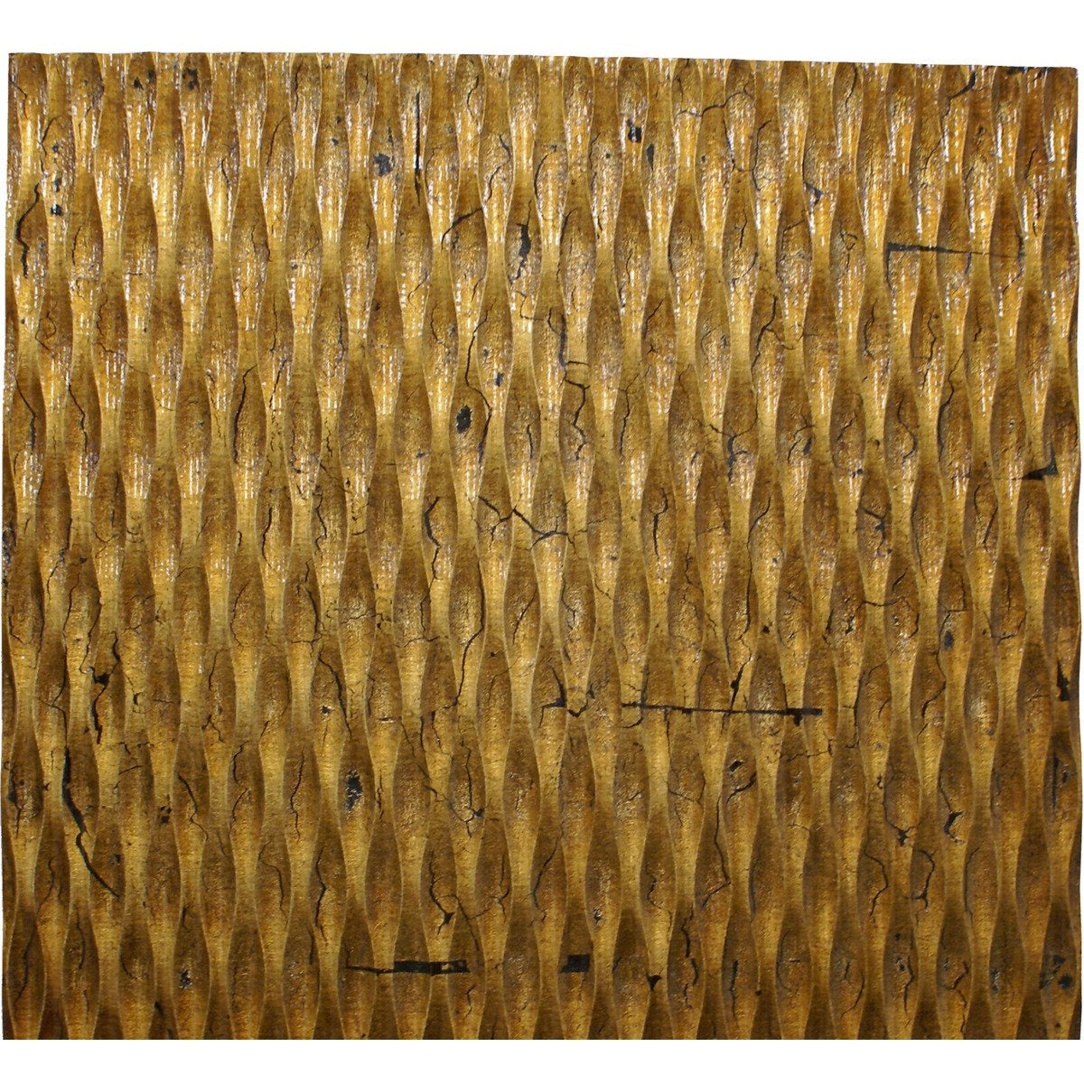 Canvas Art - Modern Style Wooden Wall Decor With Patterned Carving, Small, Gold