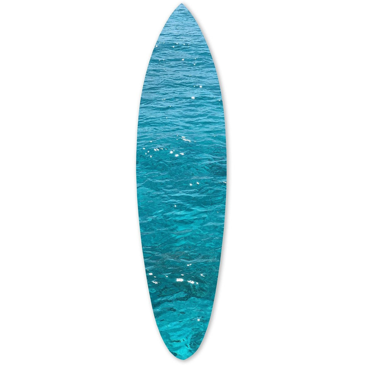 Canvas Art - Wooden Surfboard Wall Art With Ocean Print, Glossy Blue
