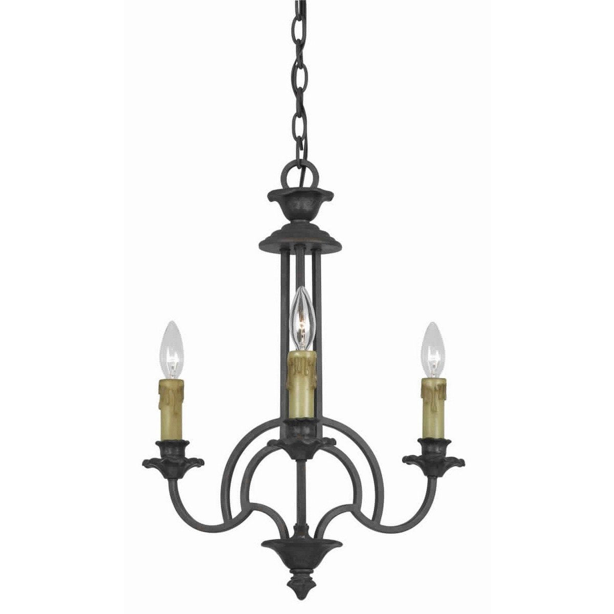 Chandeliers & Pendants - 3 Bulb Candle Style Uplight Chandelier With Metal Frame, Black And Brass