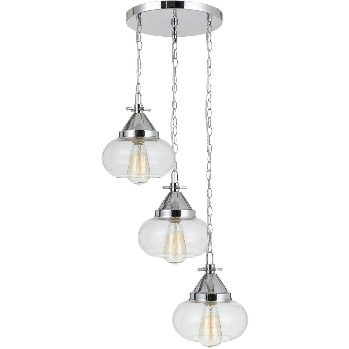Chandeliers & Pendants - 3 Bulb Wind Chime Design Pendant With Round Glass Shade And Chain, Silver