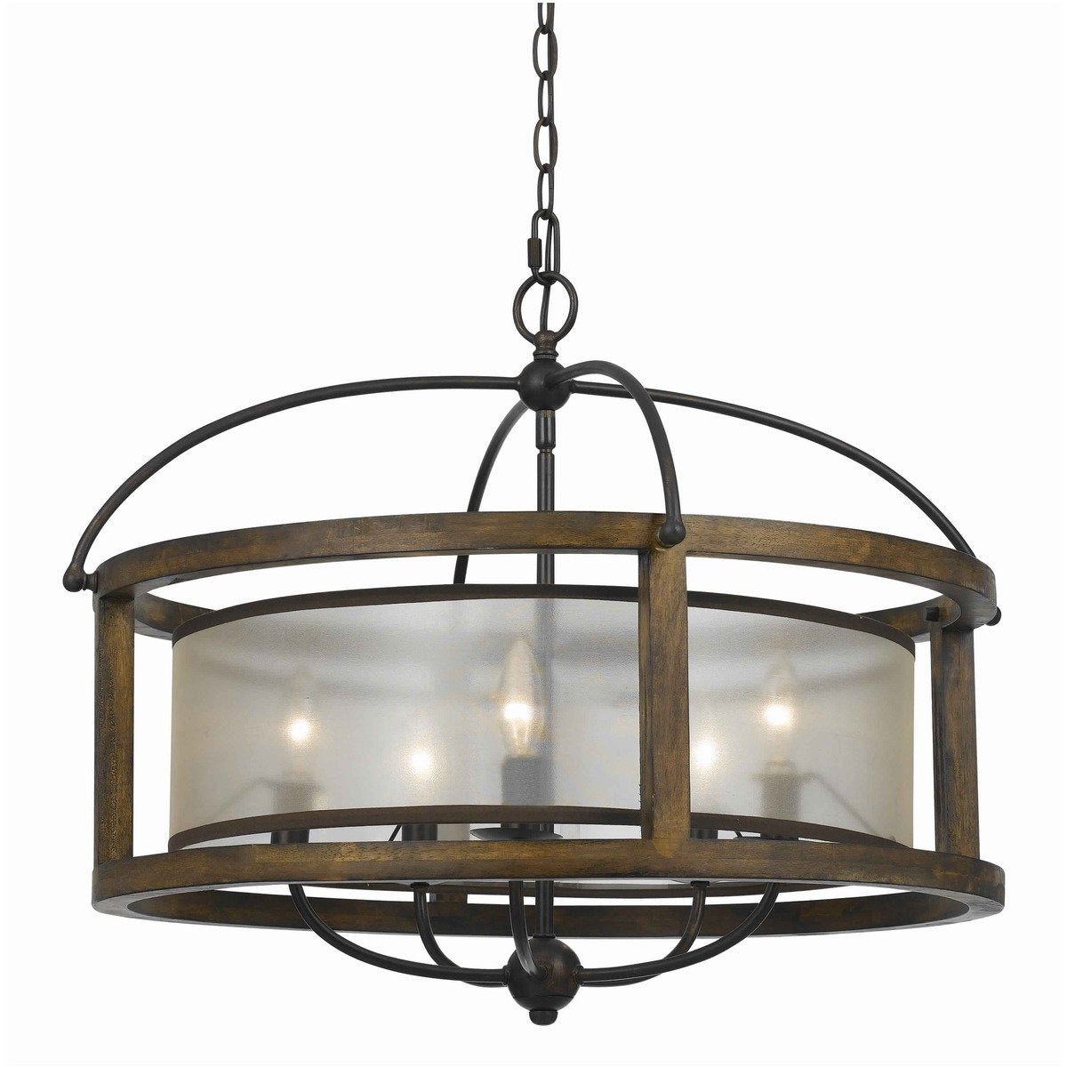 Chandeliers & Pendants - 5 Bulb Round Chandelier With Wooden Frame And Organza Striped Shade, Brown