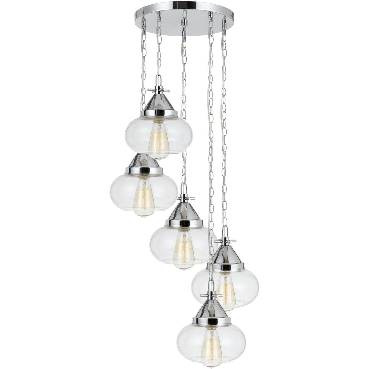 Chandeliers & Pendants - 5 Bulb Wind Chime Design Chandelier With Metal Fame And Glass Shade, Silver