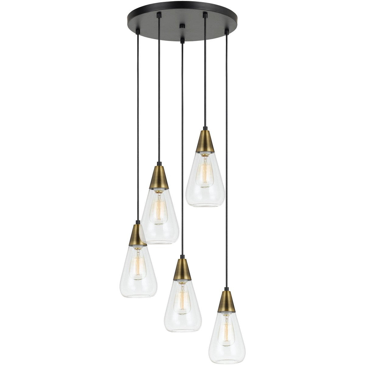 Chandeliers & Pendants - 5 Conical Shaped Glass Pendant Lighting With Canopy And Brass Accent, Clear