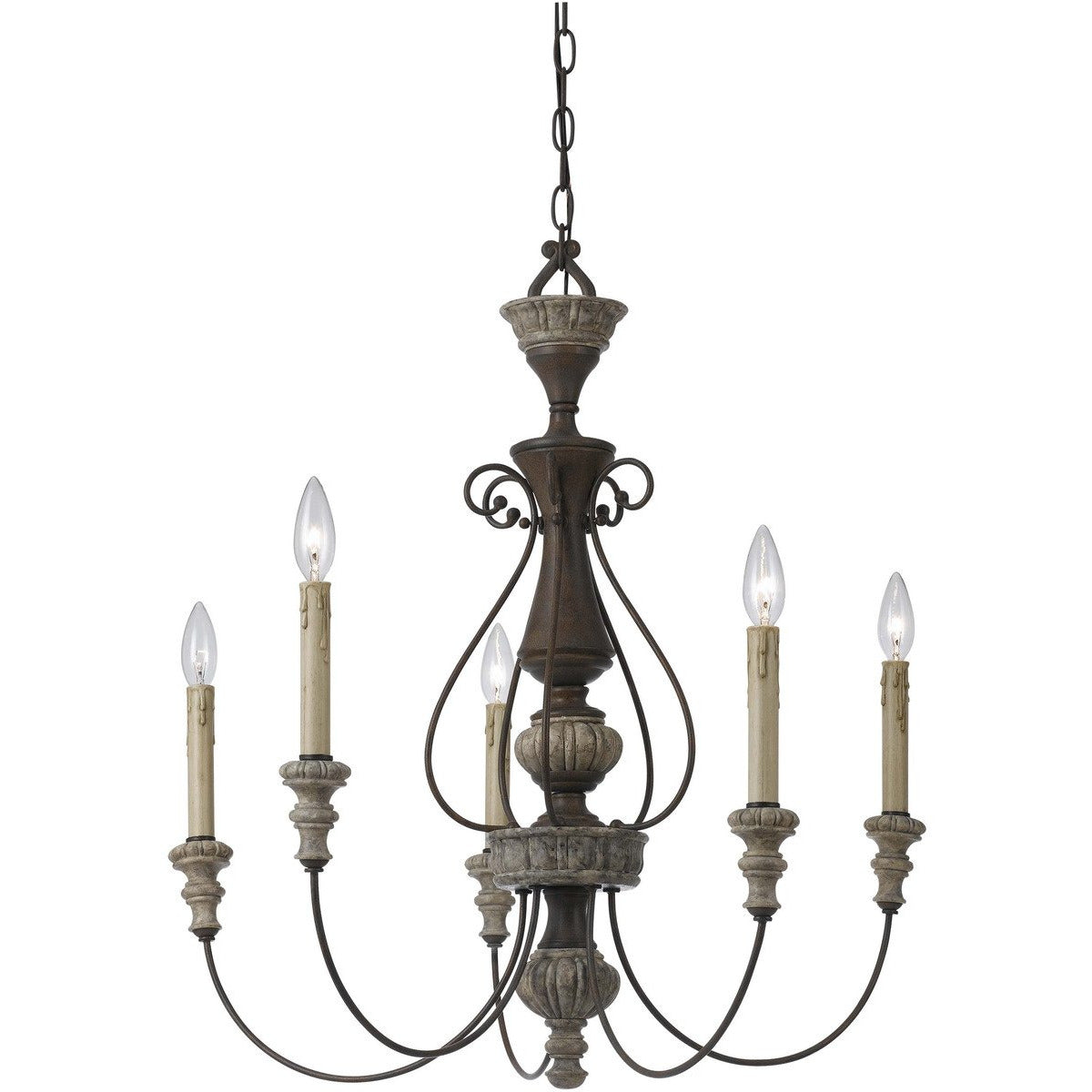 Chandeliers & Pendants - 5 Light Metal Candle Chandelier With Scrolled Details, Gray And Brown