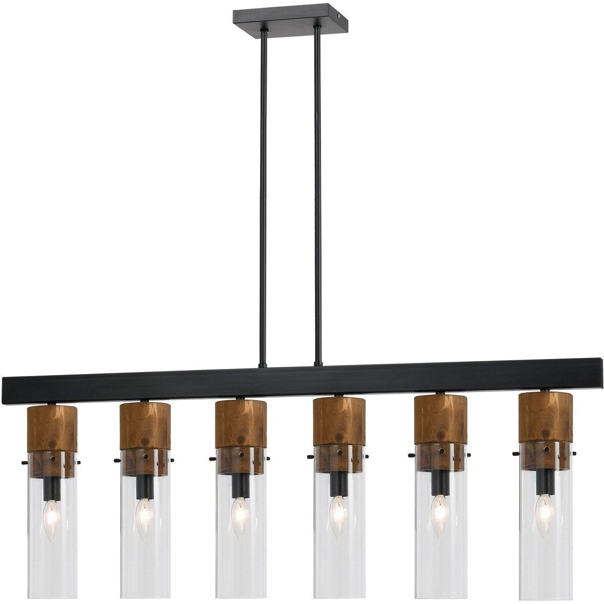 Chandeliers & Pendants - 6 Bulb Metal Frame Island Fixture With Cylindrical Glass Shades, Black