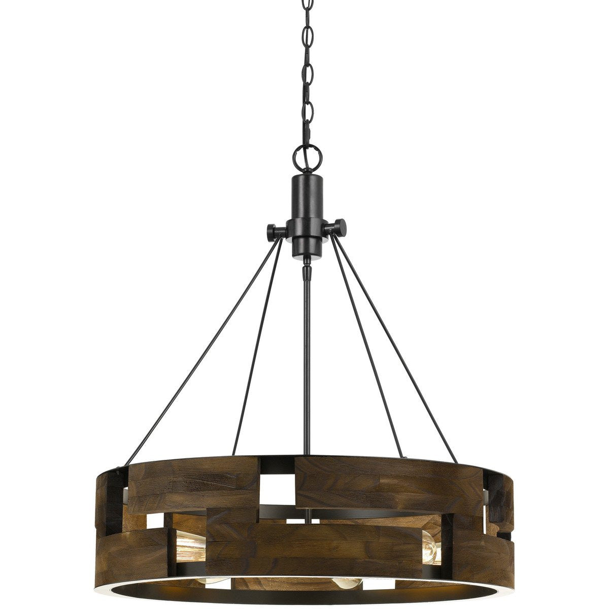 Chandeliers & Pendants - 6 Bulb Round Wooden Frame Chandelier With Geometric Cut Our Design, Brown
