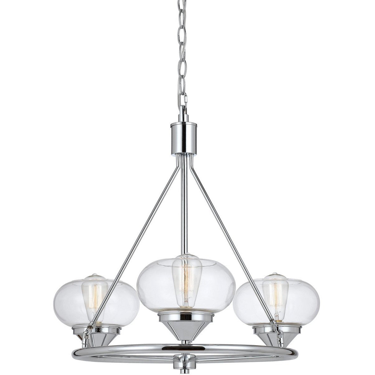 Chandeliers & Pendants - 60 X 3 Watt Metal And Glass Chandelier With 6 Foot Chain, Chrome