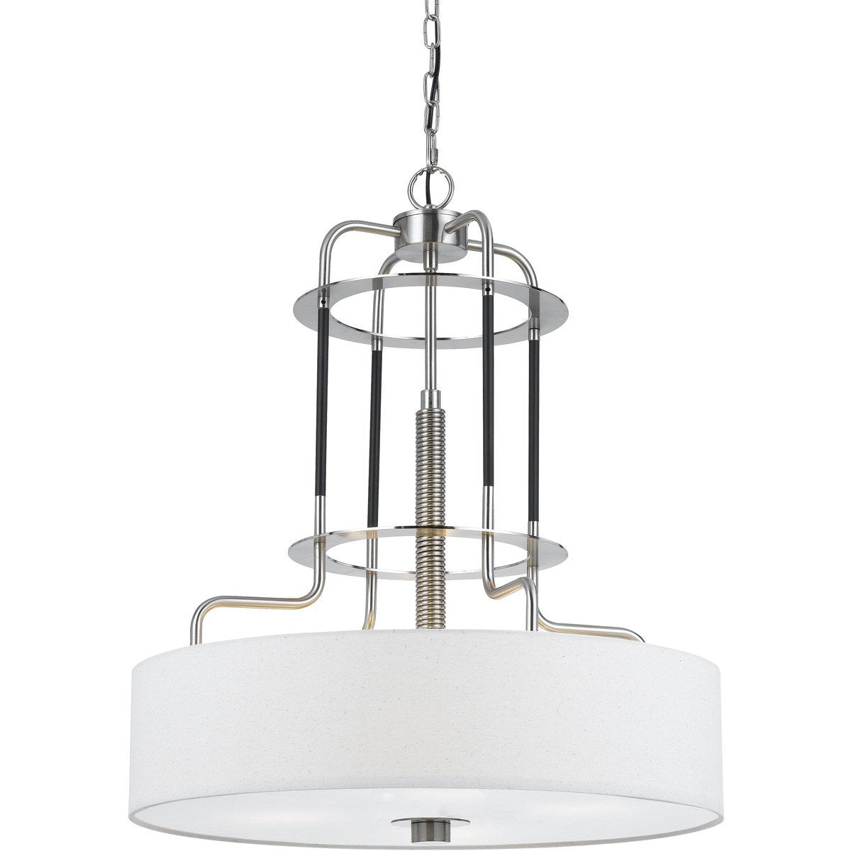 Chandeliers & Pendants - 60 X 4 Watt Metal Frame Chandelier With Fabric Shade, White And Silver