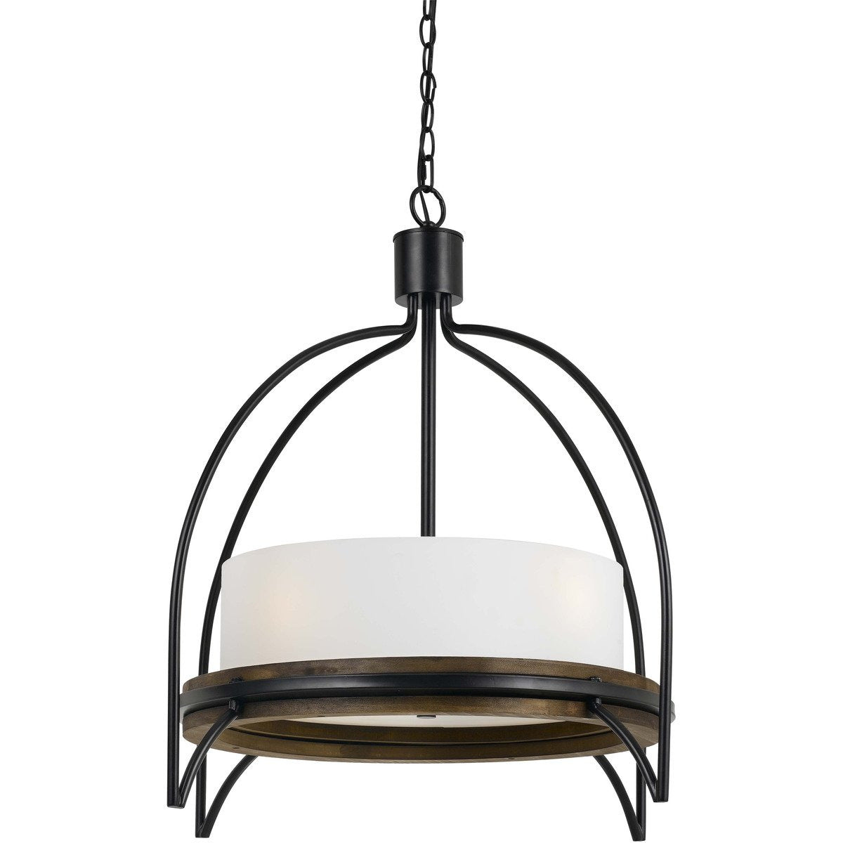 Chandeliers & Pendants - 60 X 4 Watt Wood And Metal Chandelier With Fabric Shade, White And Black