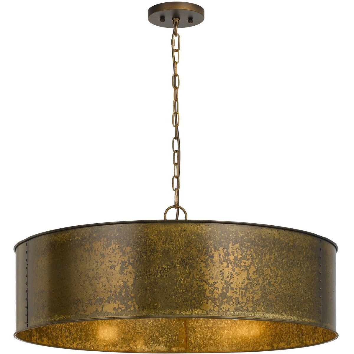 Chandeliers & Pendants - 60 X 5 Watt Round Metal Frame Chandelier With 6 Foot Chain, Distressed Gold