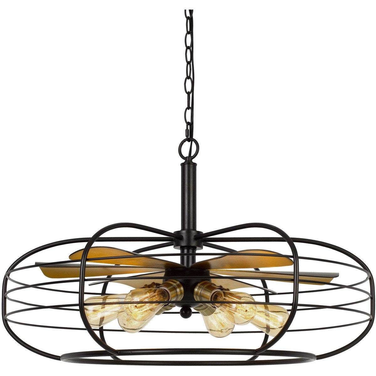 Chandeliers & Pendants - Circular Cage Design Metal Chandelier With Fan Blade Accent, Black