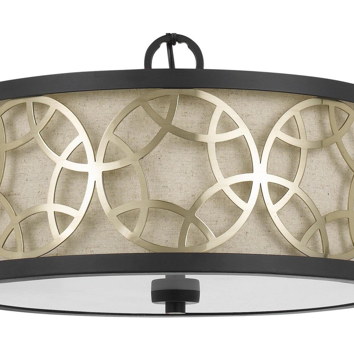 Chandeliers & Pendants - Cylindrical Drum Pendant Chandelier With Lattice Design, Black And Brass