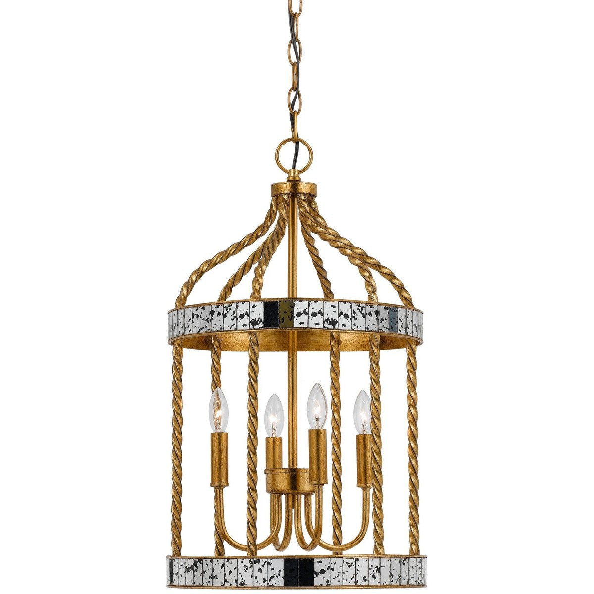Chandeliers & Pendants - Metal Bird Cage Design Pendant With Woven Rope Pattern, Gold