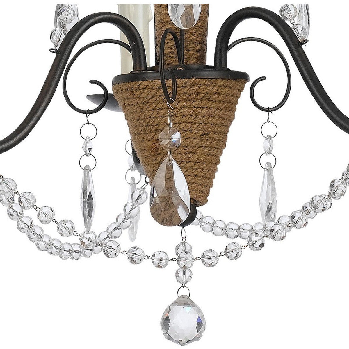 Chandeliers & Pendants - Scroll Metal Frame Chandelier With Hanging Crystals And Wrapped Rope,Bronze