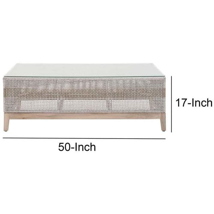 Coffee Tables - Interwoven Rope Wooden Coffee Table With Glass Top, Gray And Brown