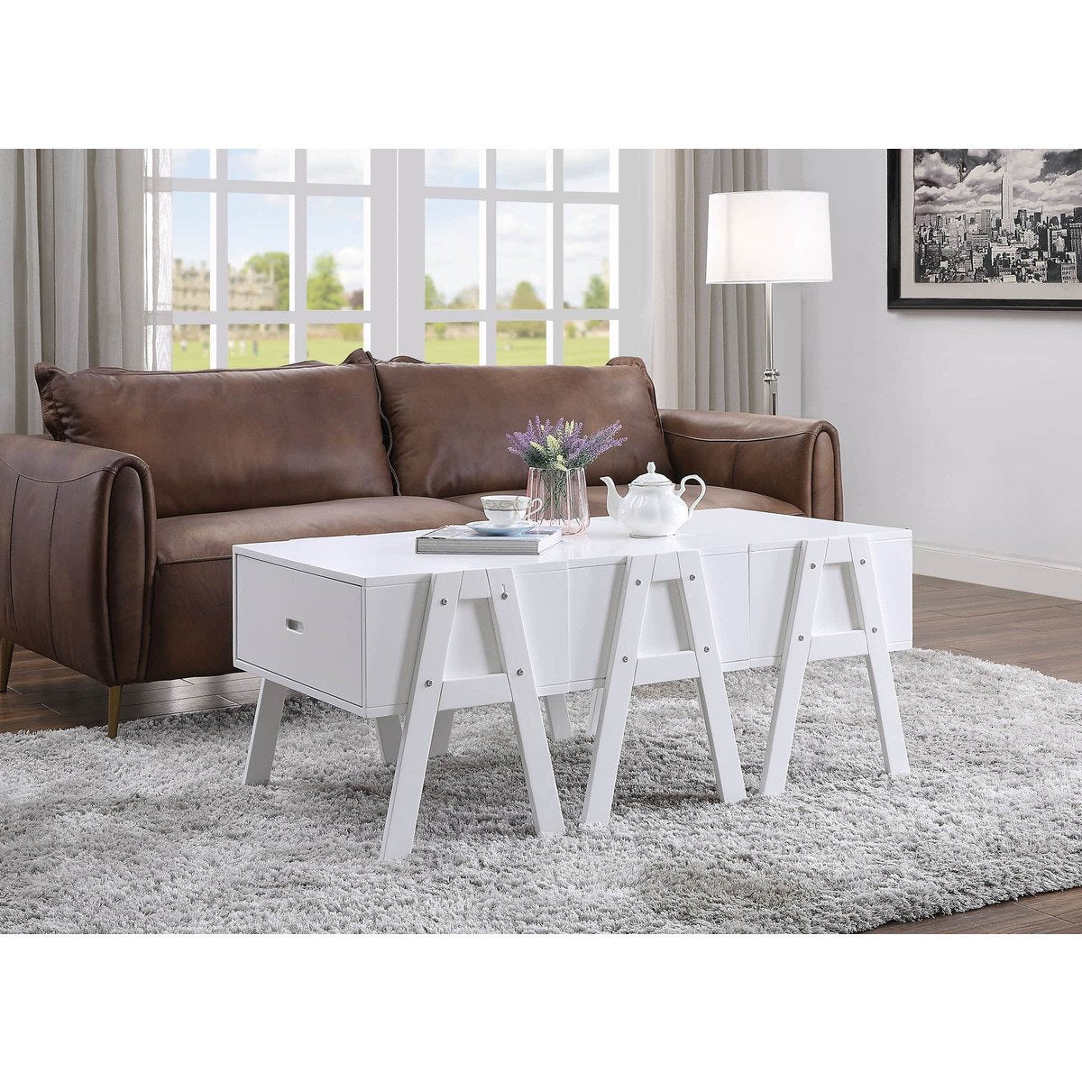 Coffee Tables - Three Drawers Wooden Convertible Coffee Table With Angled Legs, White