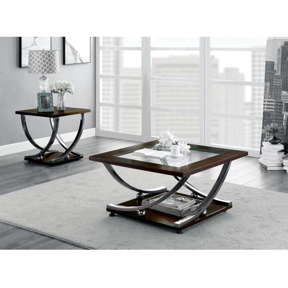 Coffee Tables - Wooden Coffee Table With Glass Top And Curled Metal Feet, Brown And Silver