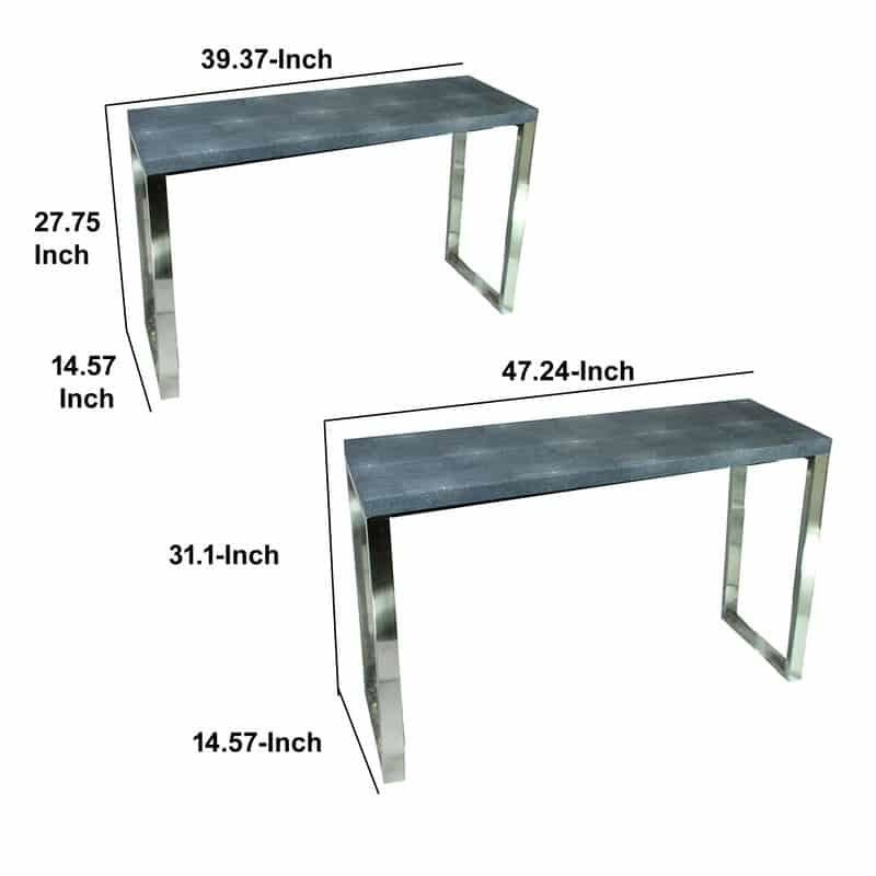 Console Tables - Rectangular Wood And Metal Console Tables, Gray And Silver, Set Of 2