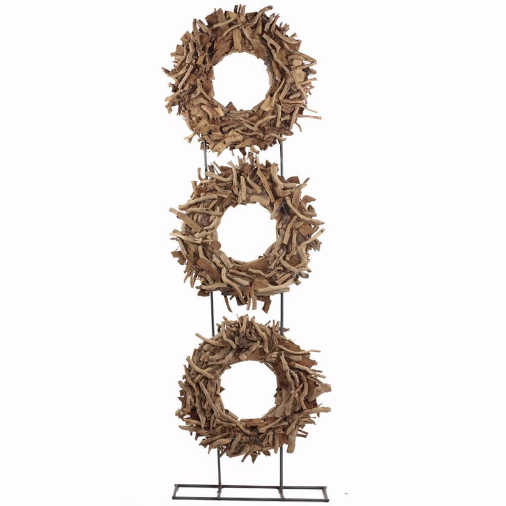 Decorative Objects And Figurines - Wood/Metal Tea Root CircleDecoration, Brown