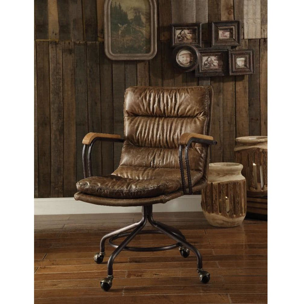 Desks And Hutches - Metal & Leather Executive Office Chair, Vintage Whiskey Brown