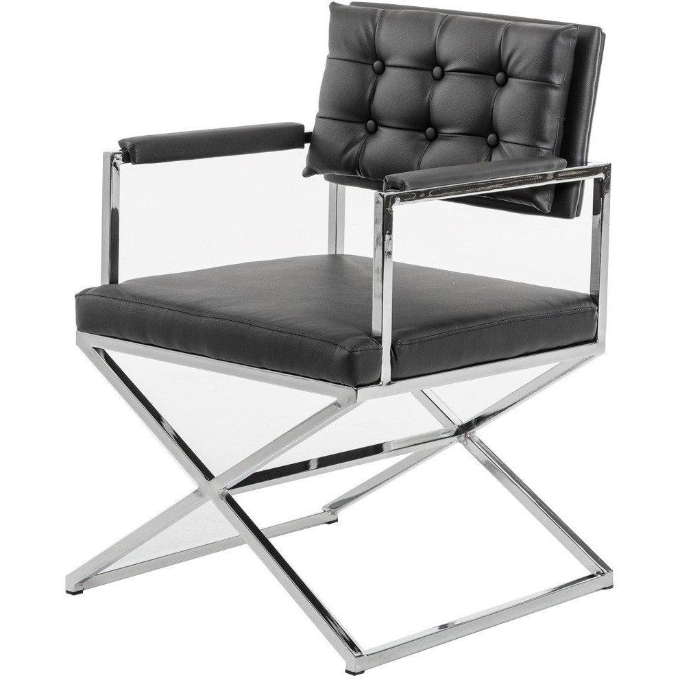 Dining Chairs - Button Tufted Back Dining Chair With X Shaped Metal Base, Black And Silver - BM219300