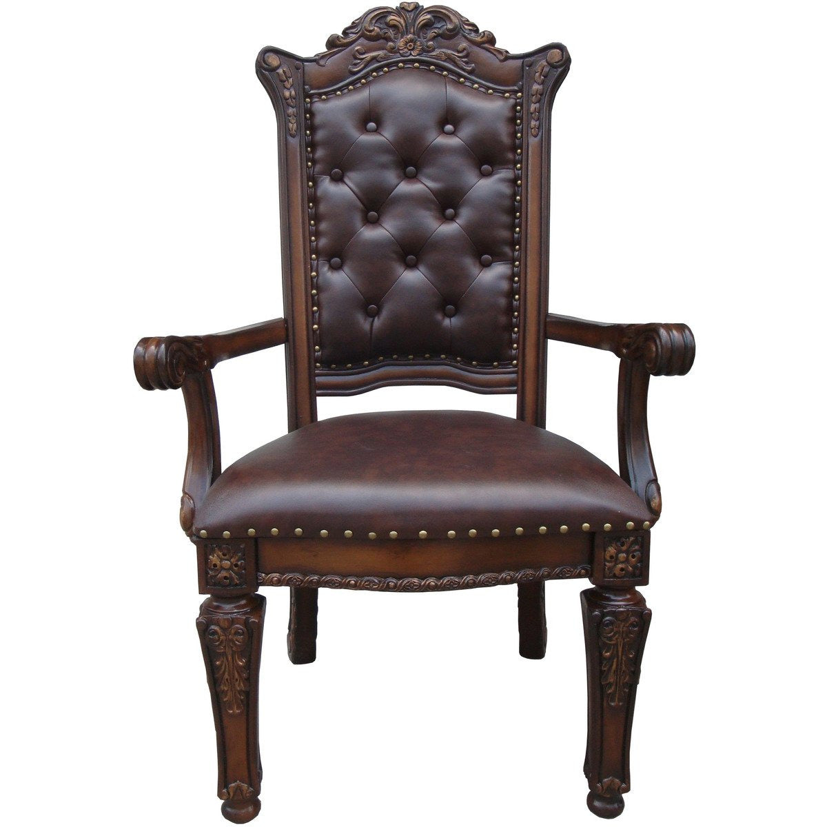 Dining Chairs - Leather Upholstered Button Tufted Wooden Side Chair, Set Of Two,Brown