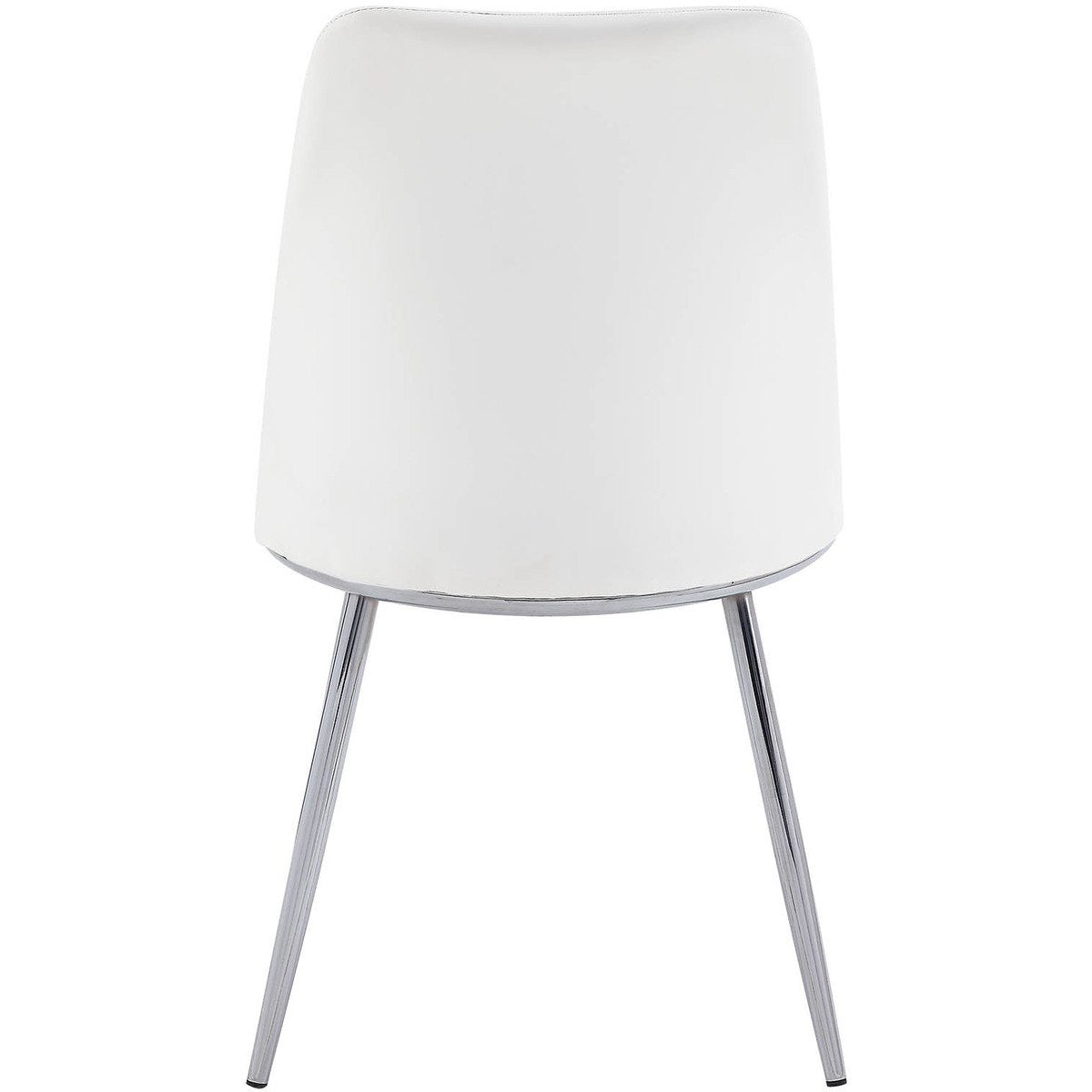 Dining Chairs - Leatherette Metal Side Chair With Angled Legs, Set Of 2, White