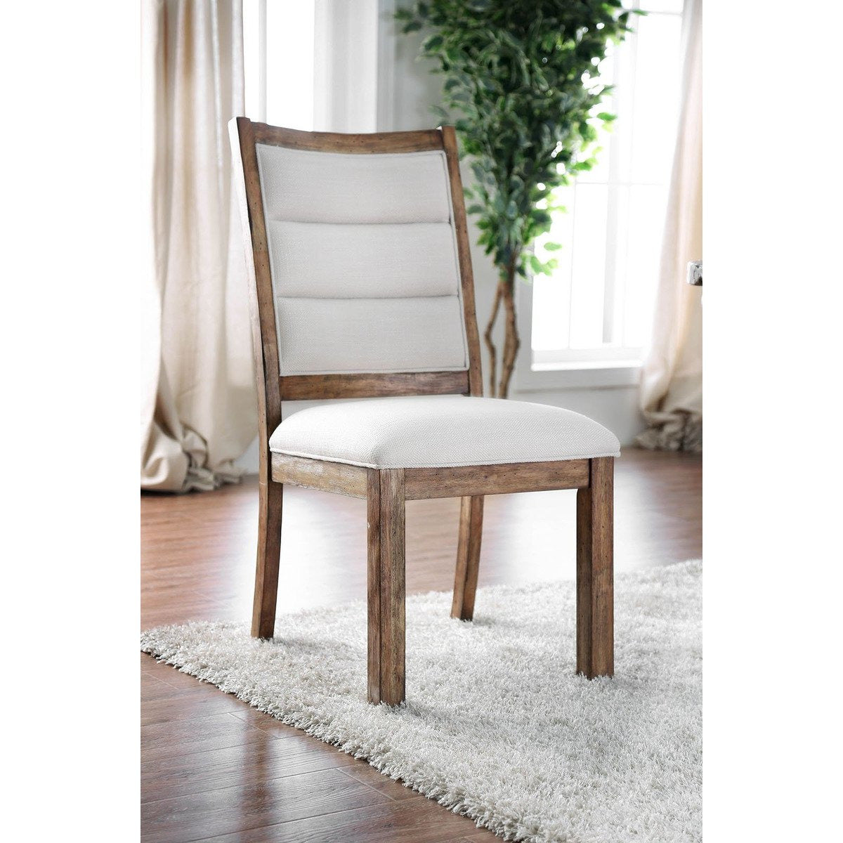 Dining Chairs - Linen Like Fabric Upholstered Solid Wood Side Chair In Rustic Style, White And Brown, Pack Of Two