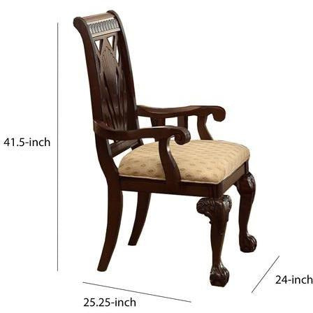 Dining Chairs - Traditional Style Wooden-Fabric Dinning Arm Chair With Carved Details, Brown & Cream, Set Of 2