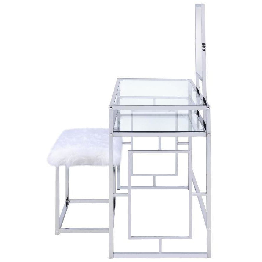 Dressers - Glass And Metal Vanity Set With Faux Fur Stool, White And Silver