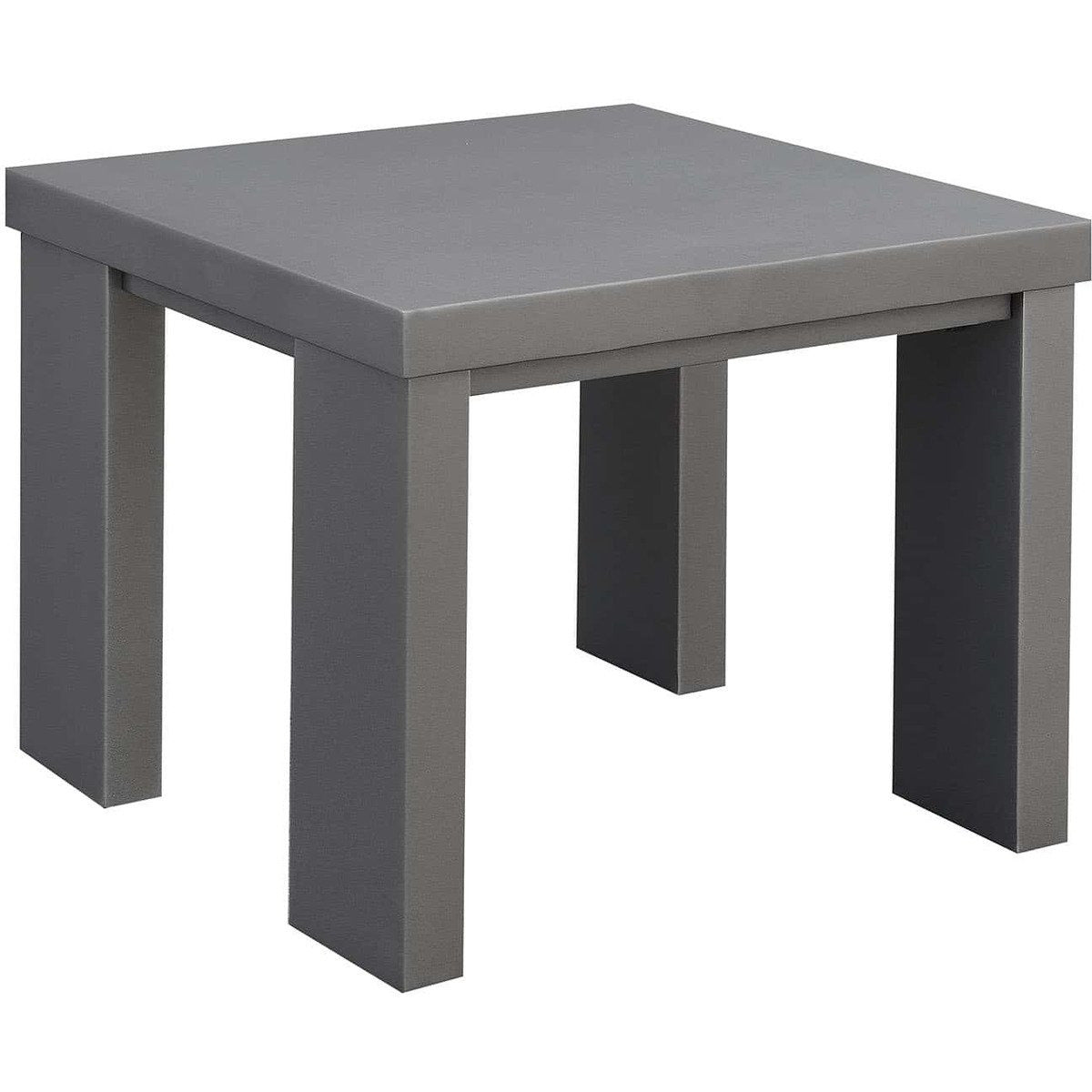End Tables - Aluminum Framed End Table With Plank Style Top, Gray