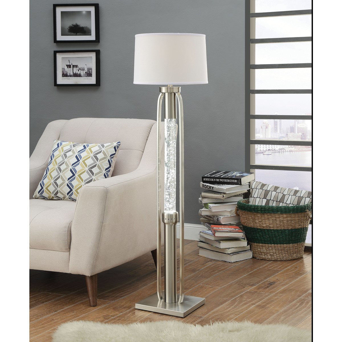 Floor Lamps - Contemporary Metal Floor Lamp With Fabric Drum Shade And LED Glass Cylinder, Silver And White