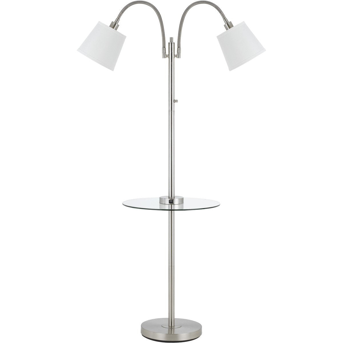 Floor Lamps - Metal Floor Lamp With 2 Gooseneck Design Shade And 3 Way Switch, Silver