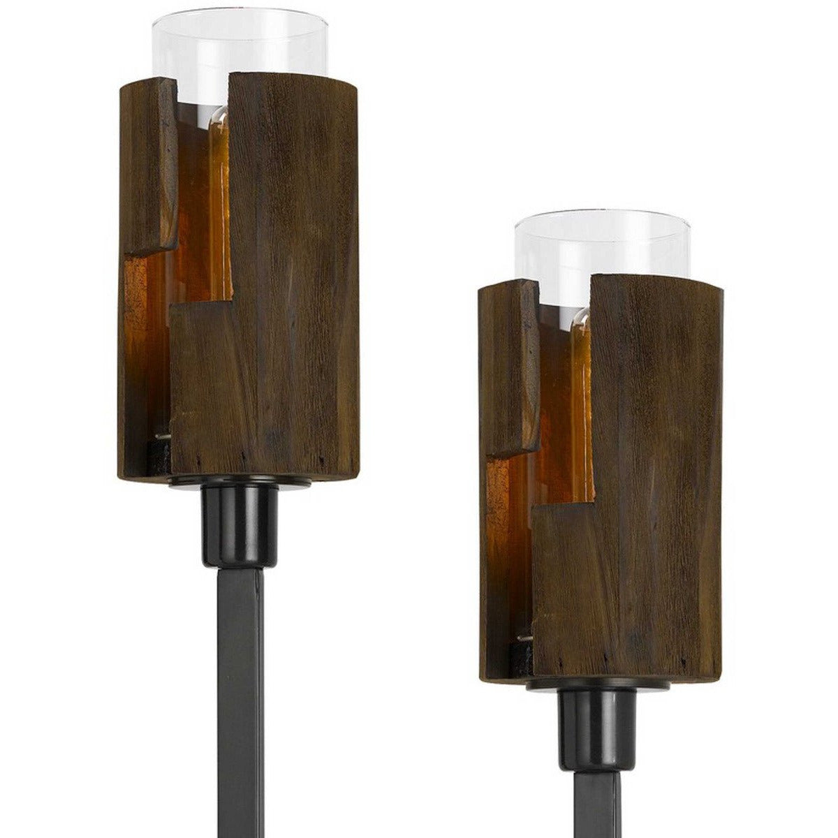 Floor Lamps - Sculpted Stalk Support Floor Lamp With 2 Wooden Frame Shade, Black