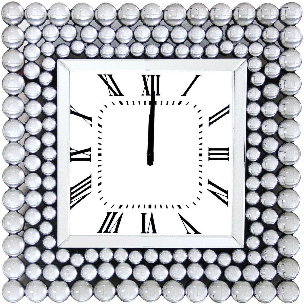 Mirrors - Mirrored Wall Clock In Square Shape, White
