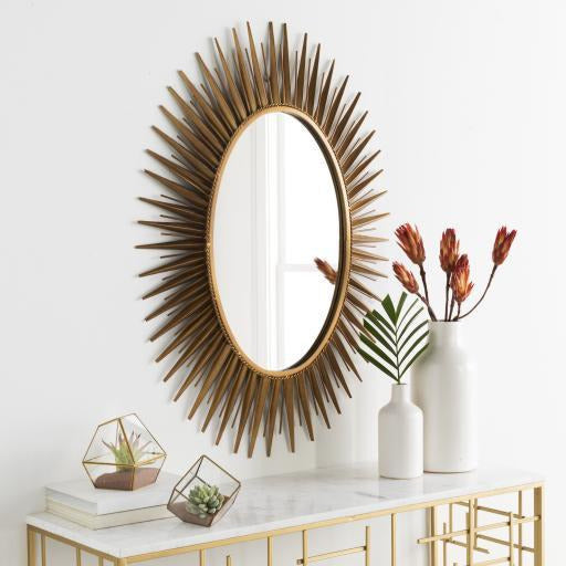 Mirrors - Nihal Gold Sunburst Oval Wall Mirror MRR-1014