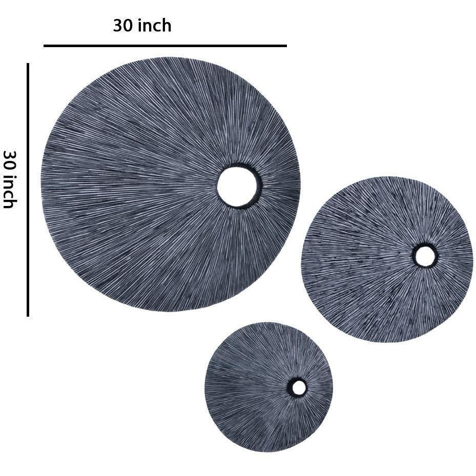Modern Wall Decor - Ribbed Round Sandstone Wall Decor With Cut Out Near The Edge, Medium, Gray