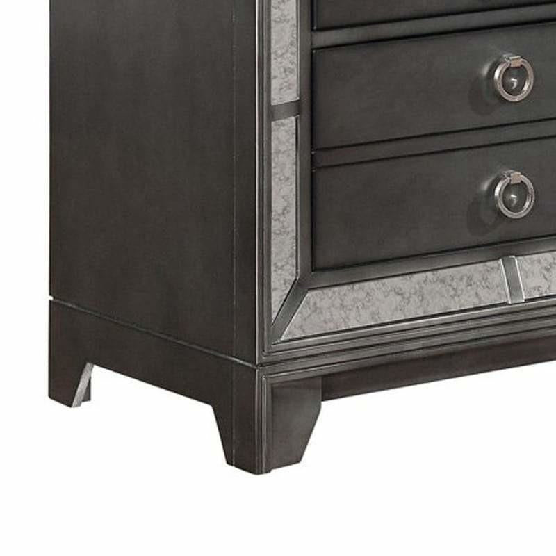 Nightstands - 3 Drawer Wooden Nightstand With Dual USB Port And Metal Pulls, Gray