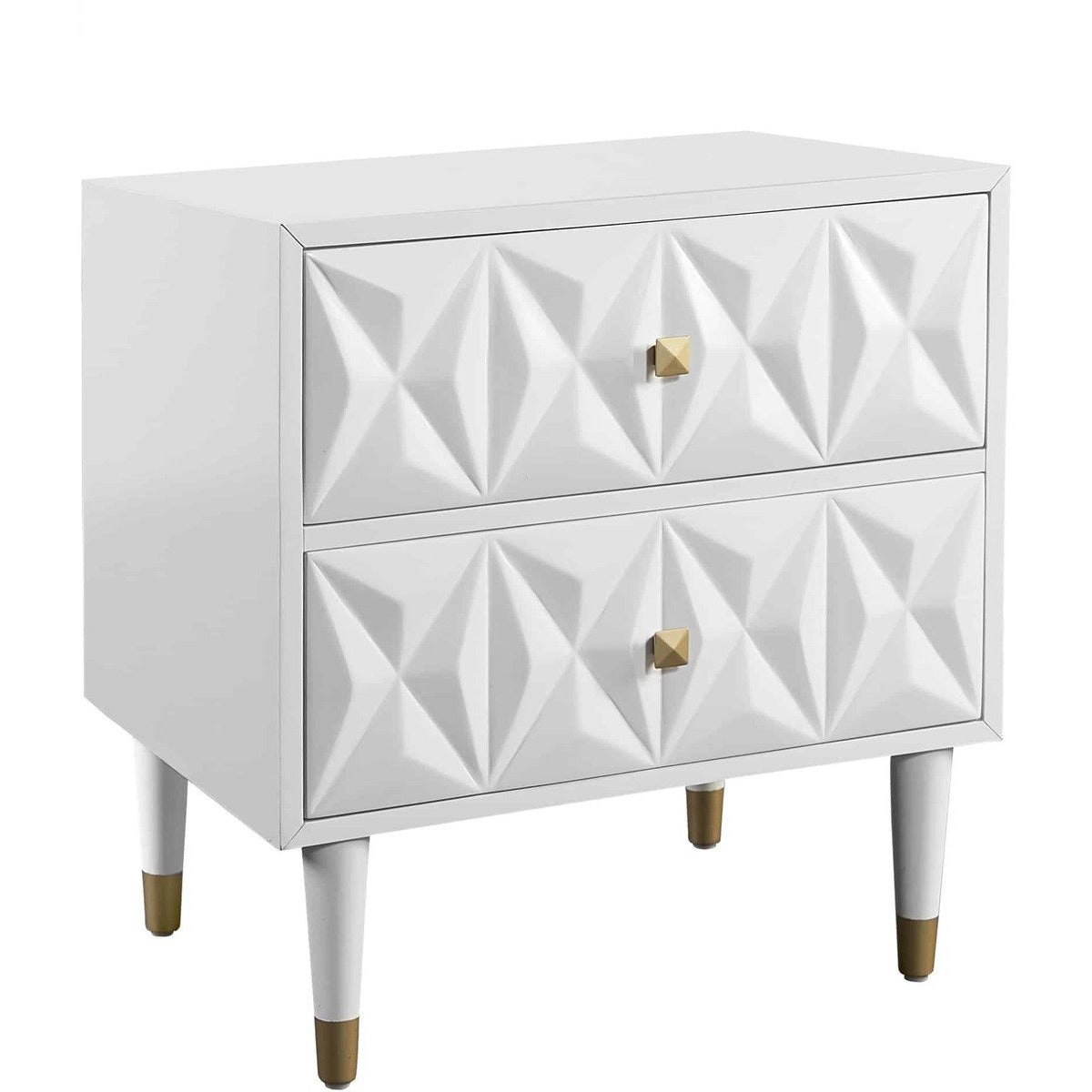 Nightstands - Modern Style Wooden Nightstand With Two Storage Drawers,White And Gold